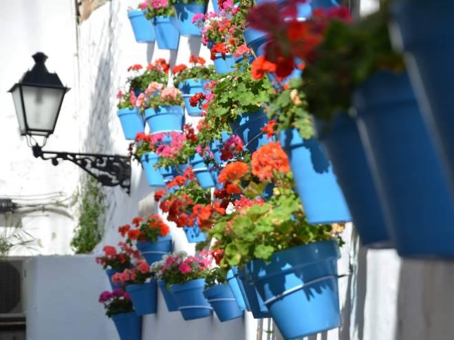 marbella valkoiset talot ja kukkaruukut